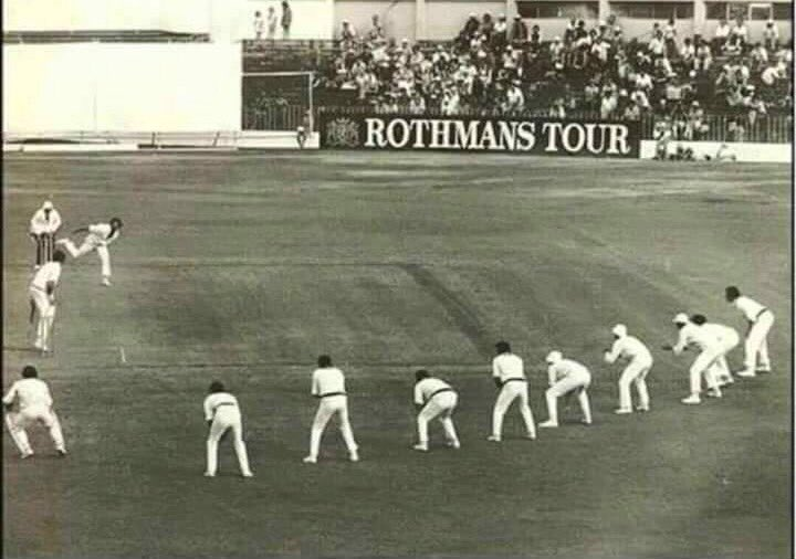 The legendary #DennisLillie bowling with 9 Slips against New Zealand. Amazing !!! https://t.co/QhHnHhD9K8