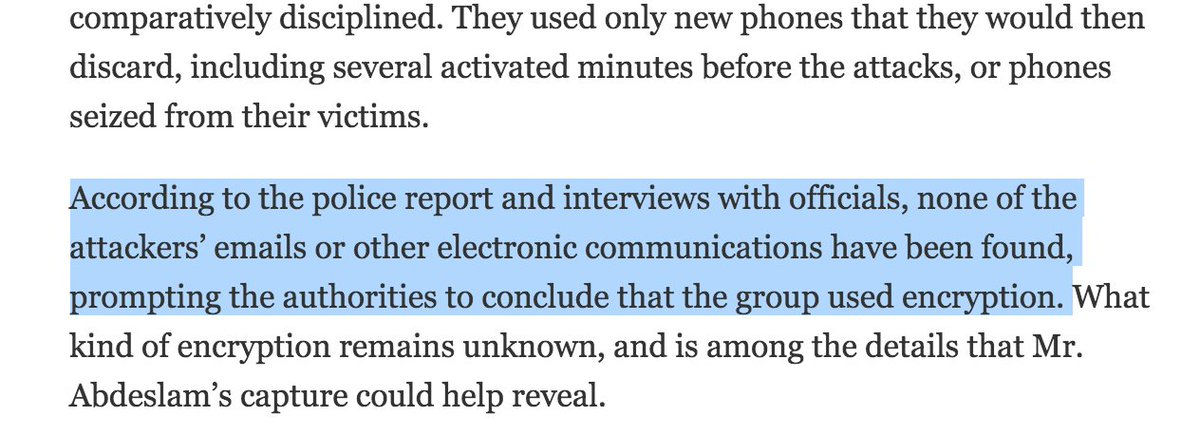 NYT on the Paris is riveting, but their uncritical treatment of encryption is disappointing https://t.co/sJgo0Io7AS https://t.co/MYBj0ofPcC