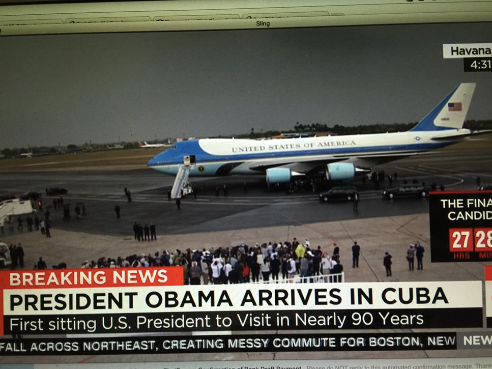 Woohoo. Big day in history. Obama arrives in Cuba. https://t.co/Hz6dkN2M9q