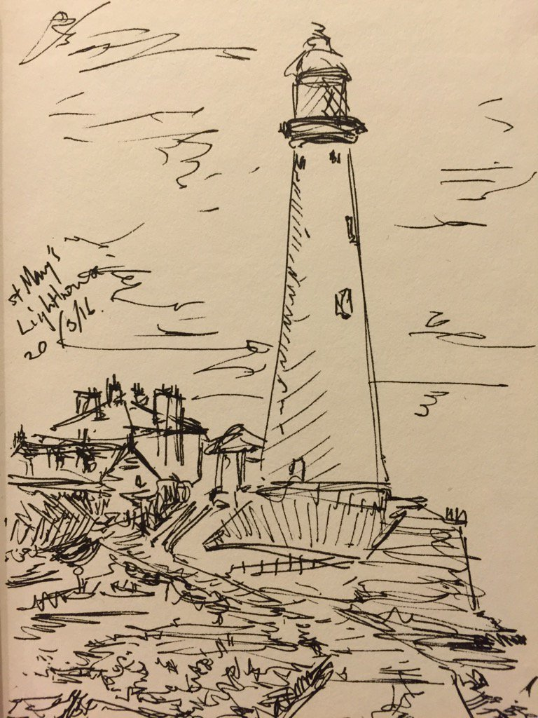 tony pickering on twitter st mary s lighthouse sketch drawing