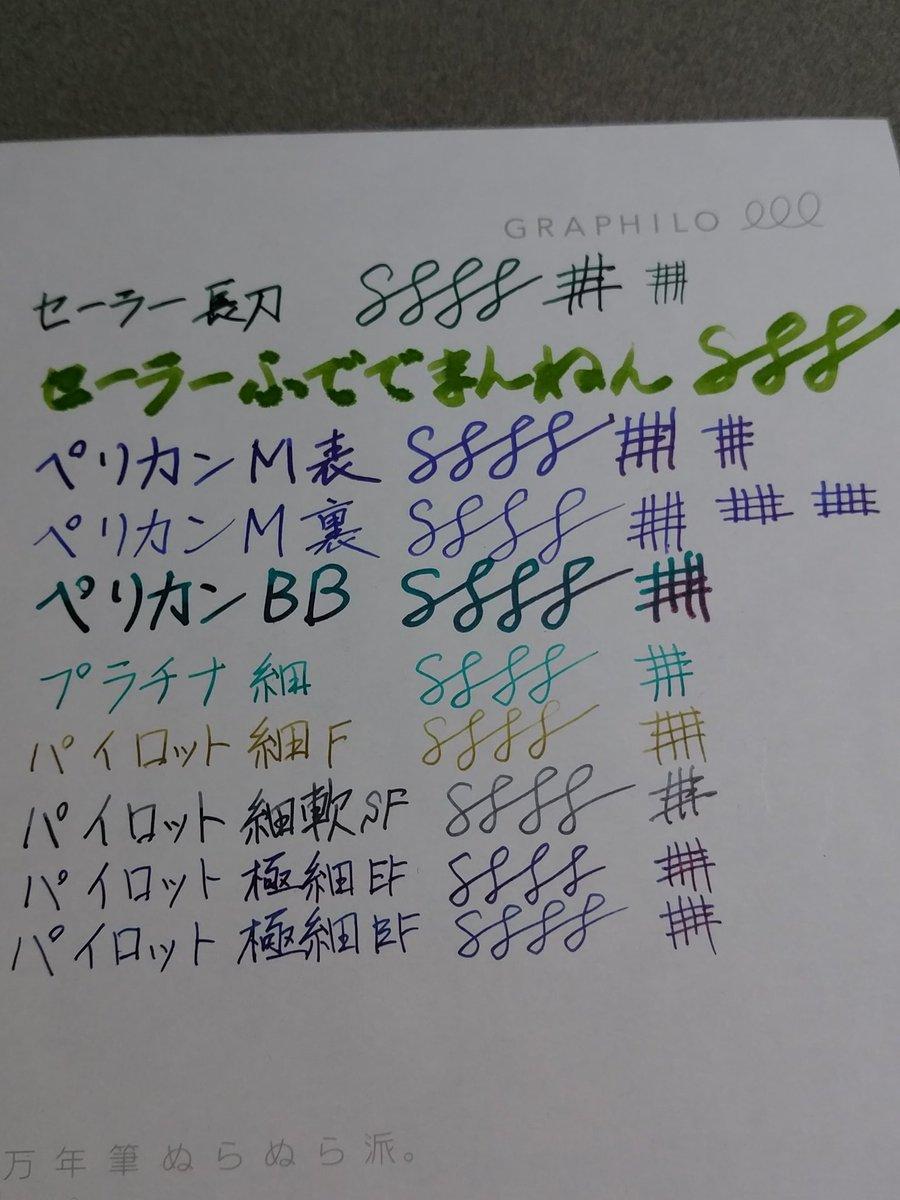おまけで貰った試筆用紙が出てきたので今インクが入ってるもので全部書いてみた。 竹林の滲みがほんとに筆みたいw ペリカンBBの青信号がかなり濃くなってきた気がする。早く使い切らないとね。 #深緑普及連盟 #全緑愛 https://t.co/49jZ0FnKBv