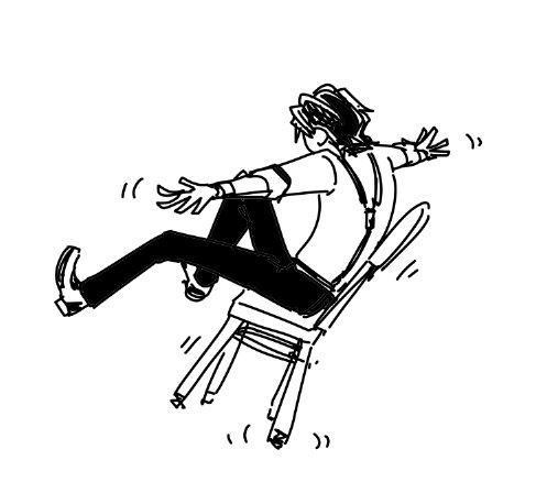 よく虎徹さんが椅子でバランスとって遊んでるとこ描いてしまうんですけど、うっかり後ろに倒れた場合も脅威の運動能力で後転をキメてくれるのでバーナビーさんも安心(はできない)