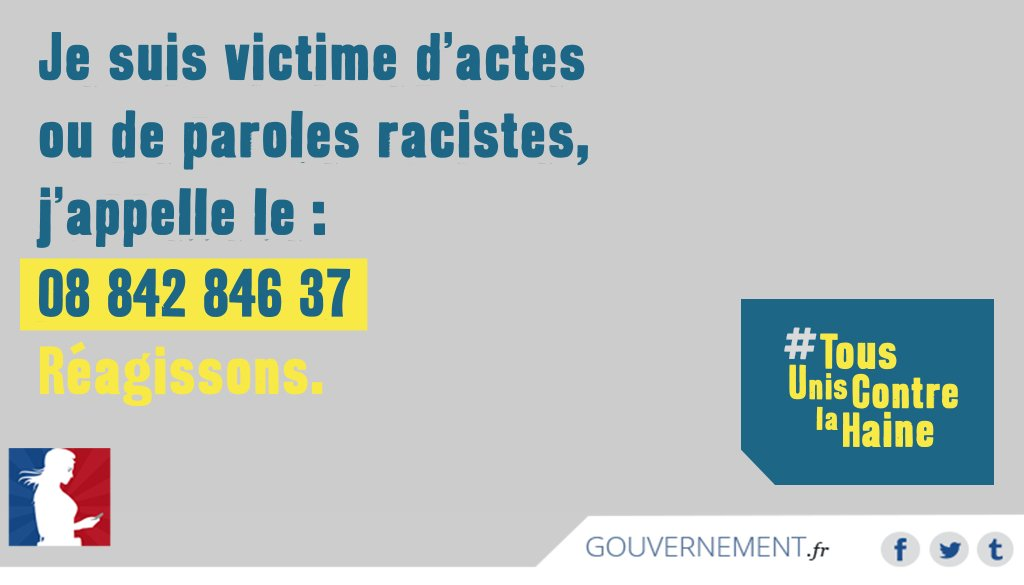 Victime d'actes/paroles racistes ? Un numéro existe ➡ 📞08 842 846 37 https://t.co/vtYme870gM #TousUnisContrelaHaine https://t.co/ocRZiFthpT
