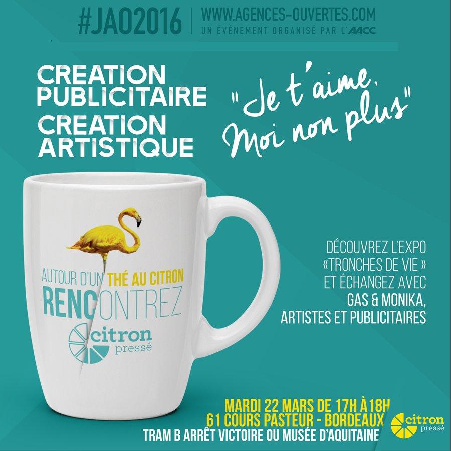 """Pour les #JAO2016 rencontrez nous autour d'un thé au citron sur le thème """"#Créa #pub VS Créa artistique"""" @AACClive https://t.co/hcdIawLzos"""