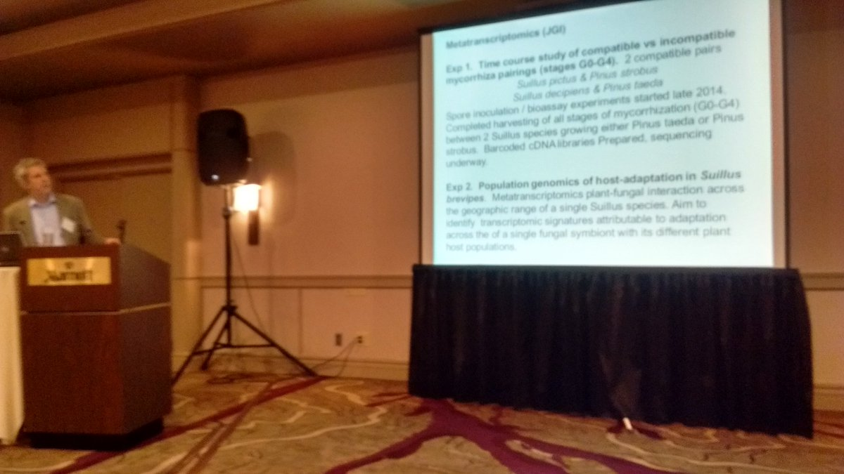 Dr. Rytas Vilgalys describes fungi (Suillus) interactions with pine trees #JGI2016 https://t.co/xJqjK6DIhR