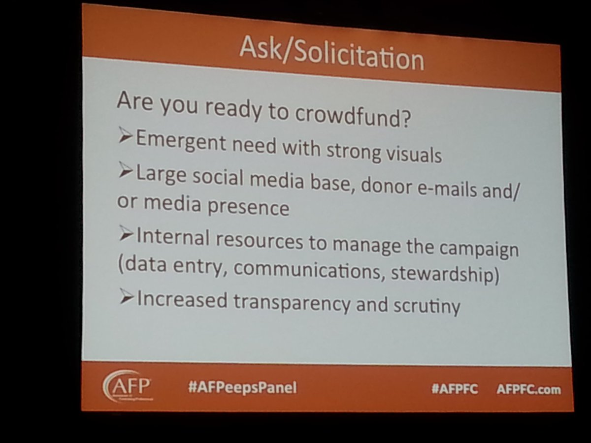 GREAT questions to ask yourself when deciding whether to do a crowdfunding campaign at your #nonprofit. #afpfc https://t.co/qd0dAFkH6d