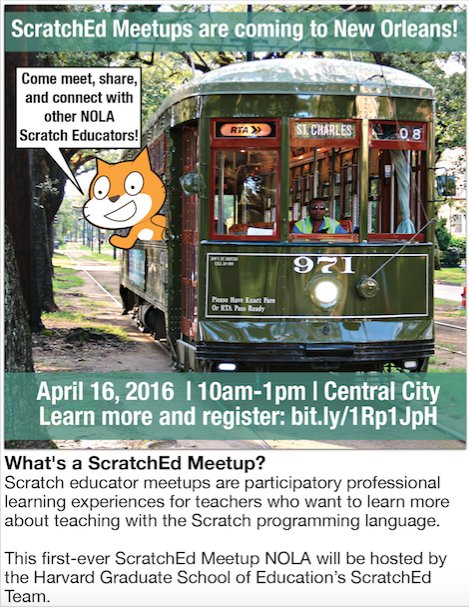 New Orleans Scratch educators: sign up for the first-ever #ScratchEdMeetupNOLA: https://t.co/vR0zQ6S2X3 https://t.co/VLiLFdHqBr