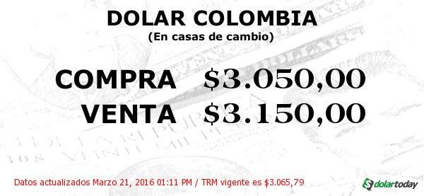 Dolar Colombia En Casas De Cambio Compra 3 050 00 Y Venta 150