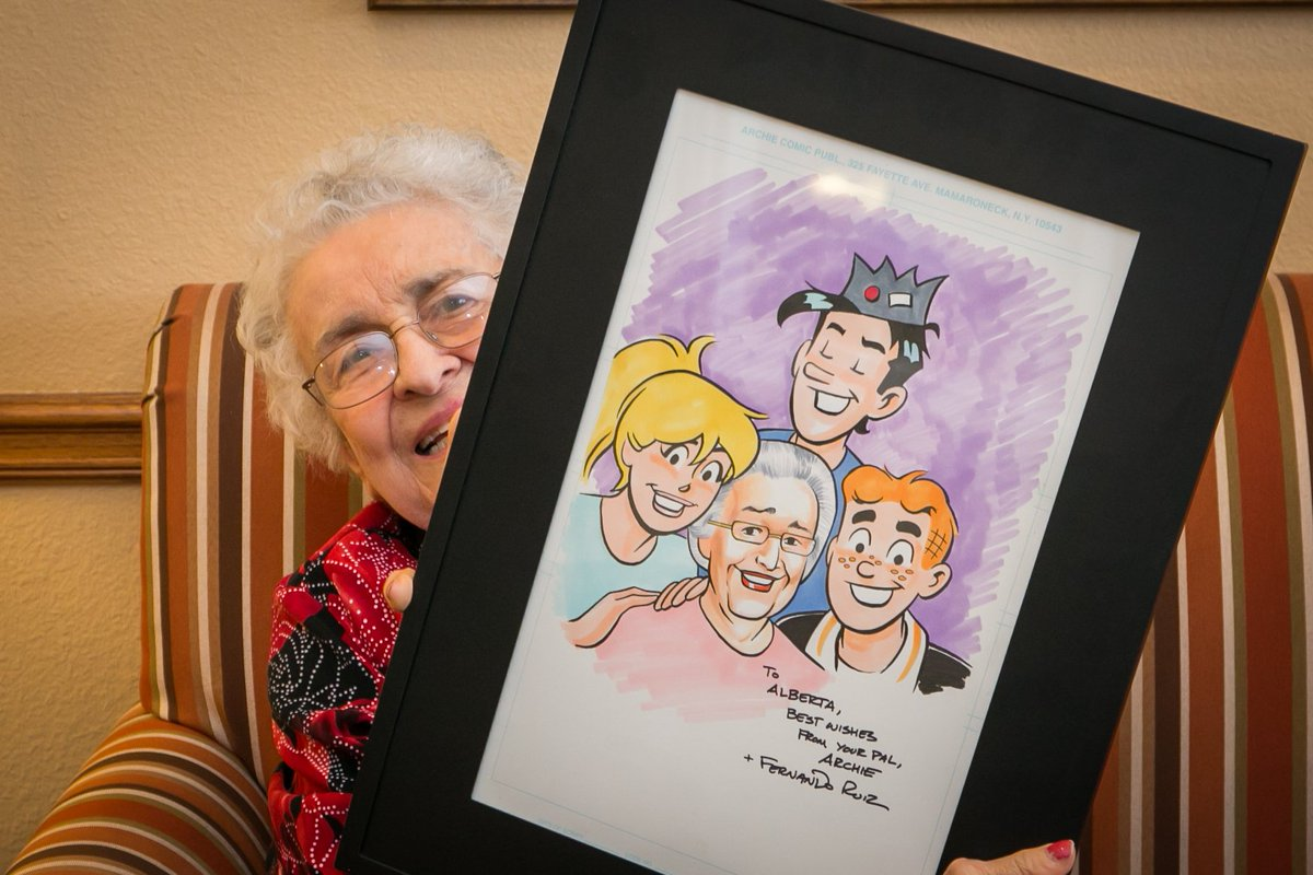Thanks to @ArchieComics, 90 year old Alberta now has her very own cartoon! #Cartoon #ArchieComics #WishGranted https://t.co/qKdda71ONF