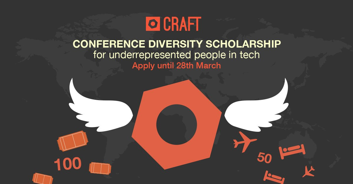 If you feel underrepresented in IT, apply for CRAFT Diversity Scholarship till 28th March: https://t.co/naxkhhSaoe https://t.co/7ak3oNpblH