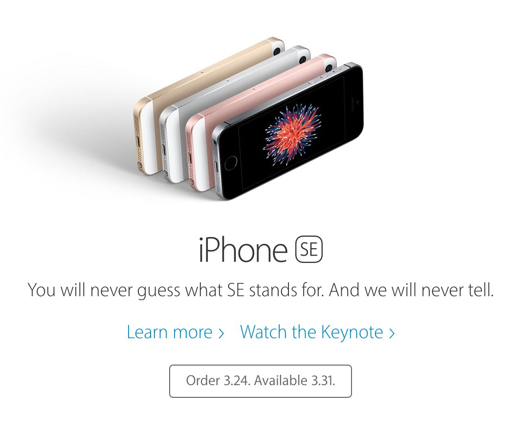 iPhone SE. You will never know what it stands for. https://t.co/ppeXX0hzLA