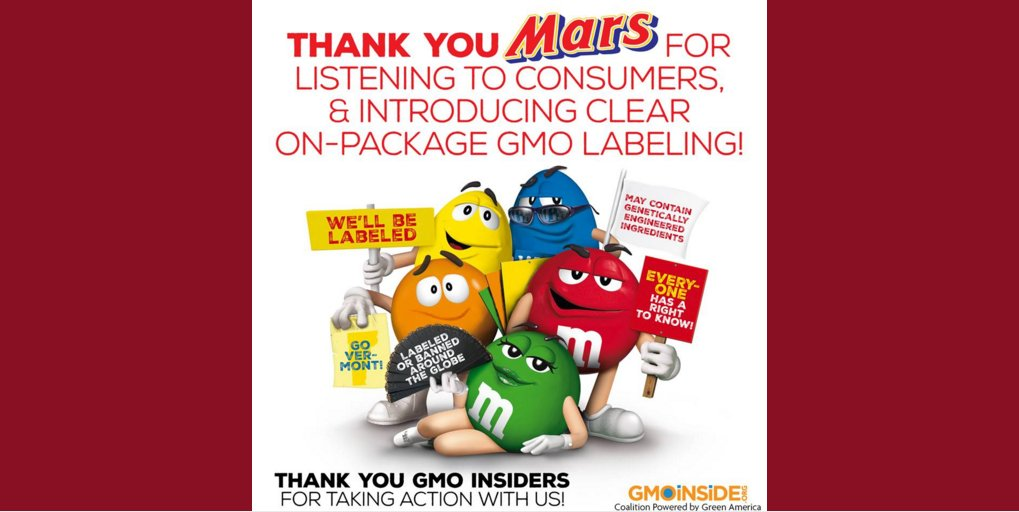 BREAKING: @MarsGlobal announced they will label products containing #GMOs. https://t.co/efOumuO29W @mmschocolate https://t.co/LcegtiWl3q