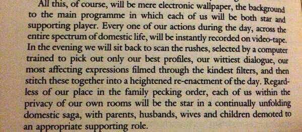 Reminder that Ballard predicted social media in this introductory essay to High Rise, Vogue, 1977. https://t.co/ushYGHRuzp