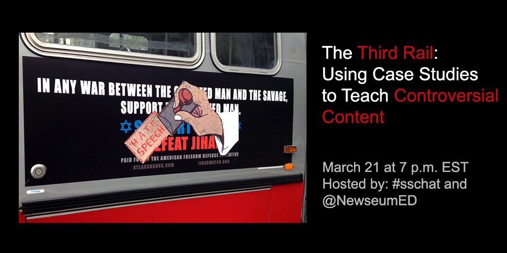 Join #sschat Tonight 7 EST The Third Rail: Using Case Studies to Teach Controversial Content @NewseumED https://t.co/8srpHGiHXh
