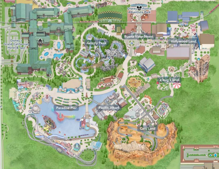Map Of California Disney.California Adventure Attraction Map Clickable Quiz By Annie9955