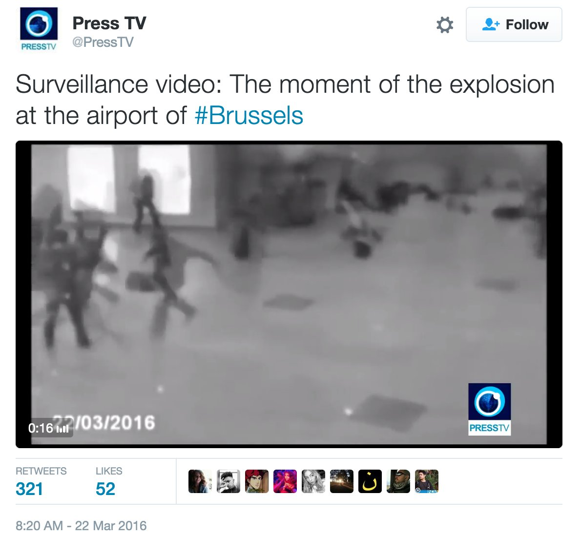 Three year old CCTV footage circulating claiming to be #Brussels. Be responsible, and verify before. https://t.co/aLY0Vik5ZH