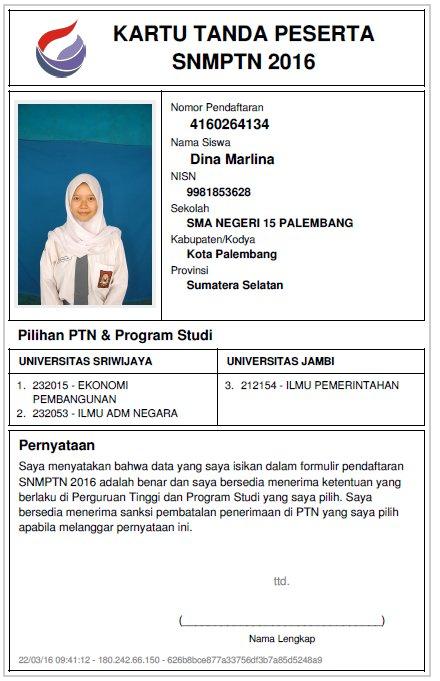 Sma Negeri 15 Palembang On Twitter Contoh Kartu Peserta Snmptn