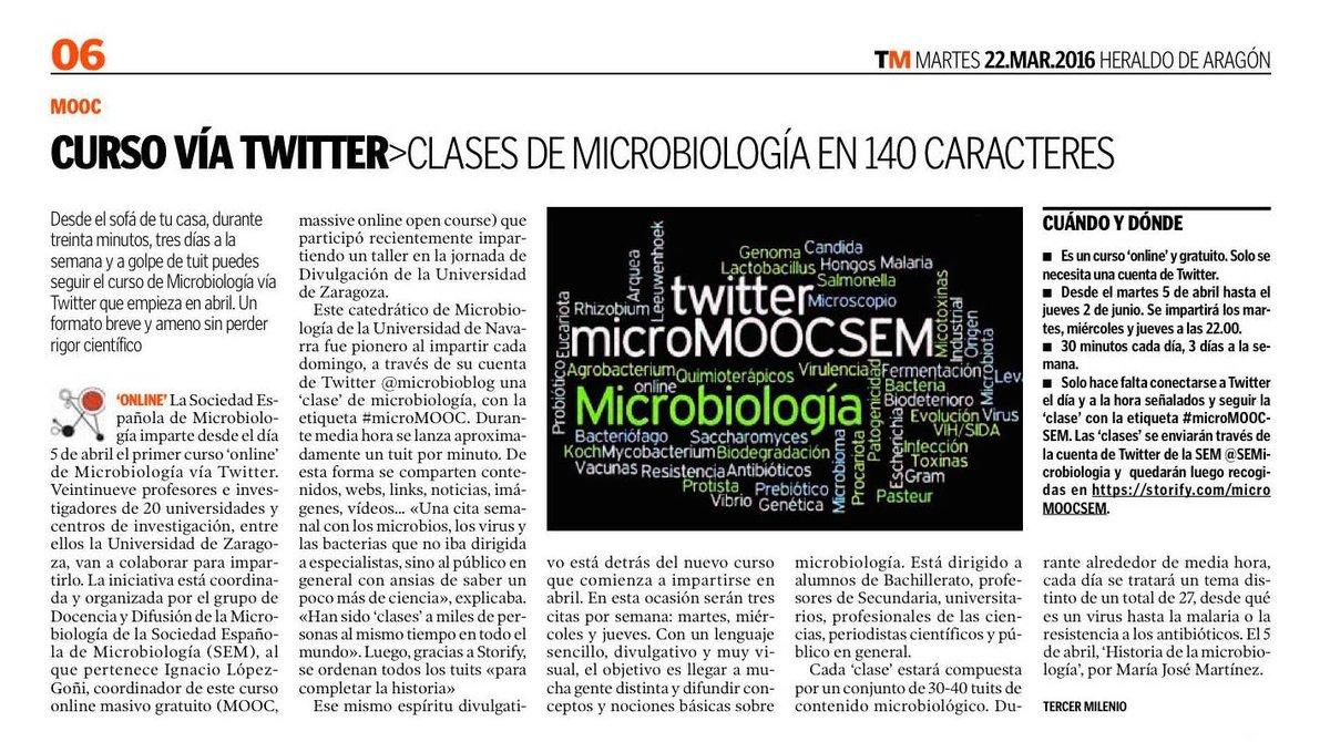 Sigue el curso de microbiología vía twitter #microMOOCSEM desde el sofá de tu casa https://t.co/jL2voy5IcJ