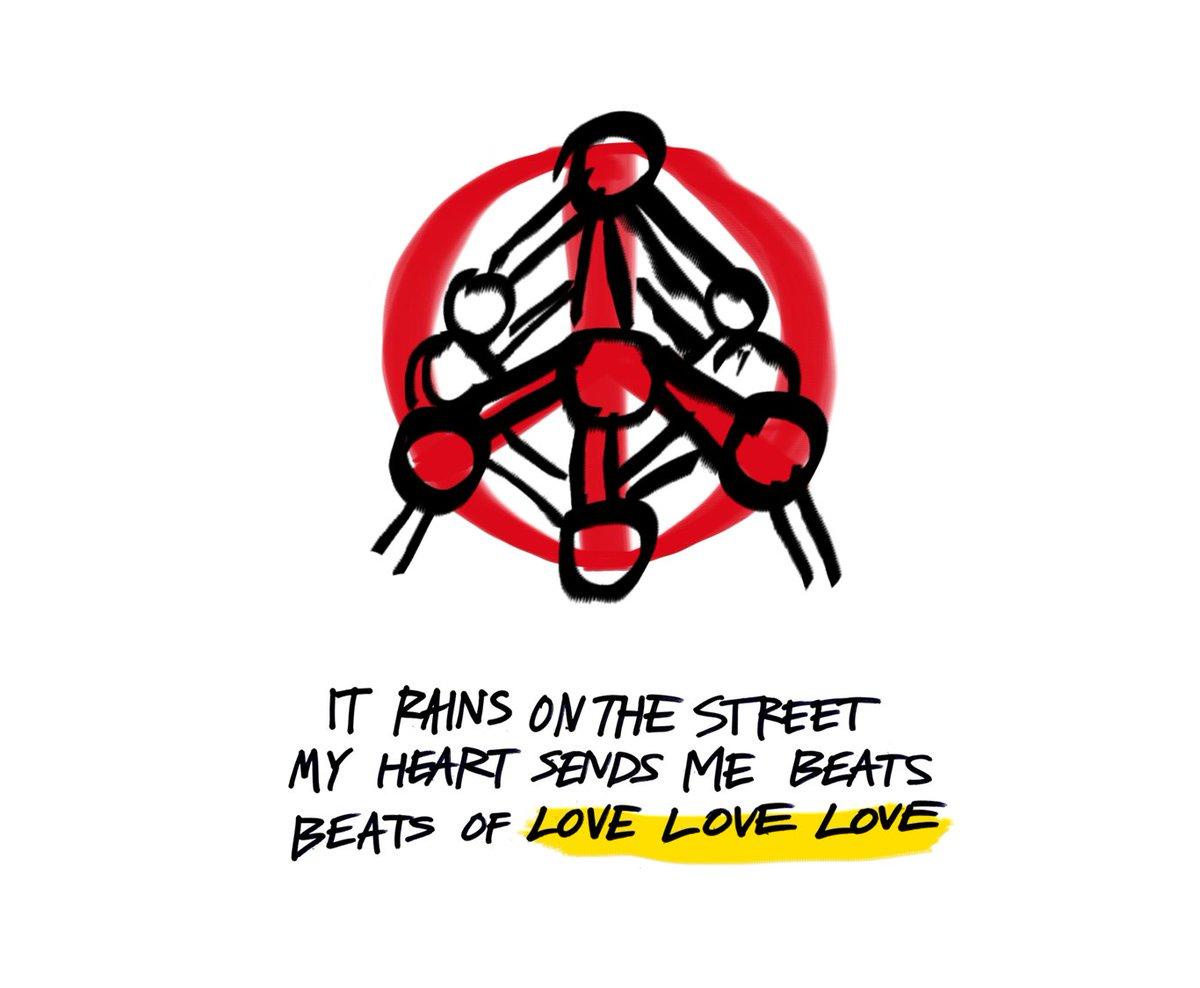 It rains on the street. My heart sends me beats. Beats of love beats of love love love.