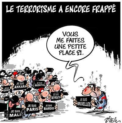 Le triste mais si réussi dessin de @dilemofficiel après #Bruxelles.