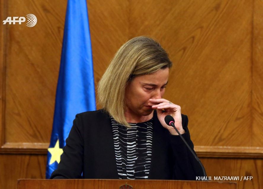 EU foreign policy chief Federica Mogherini reacts to news of #Brussels attacks during a press conference in Jordan