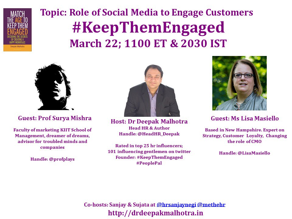 #KeepThemEngaged Welcomes Prof Surya and Lisa to the chat show. @LisaMasiello & @profplays thanks for joining us. https://t.co/69dmSHpIi6