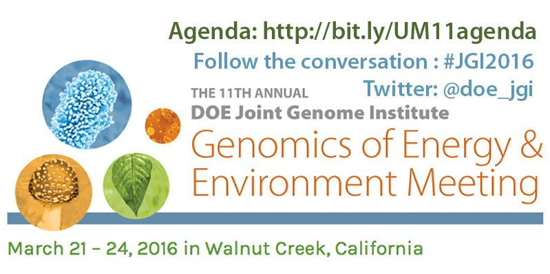 Our Genomic Technologies Workshop @WCMarriott at 8:30am; our #JGI2016 mtg starts 5:10pm https://t.co/ldO1QqL7c9 https://t.co/EzLoZfLNJn