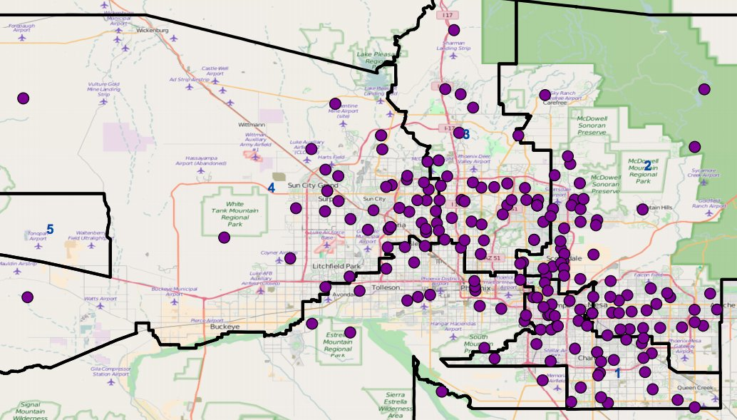 WHY YOU'RE WAITING IN LINE TO VOTE Compare '12 map of 200 #MariCo polling places (purple) vs 60 in '16 map (green) https://t.co/QdP0Huc6AU