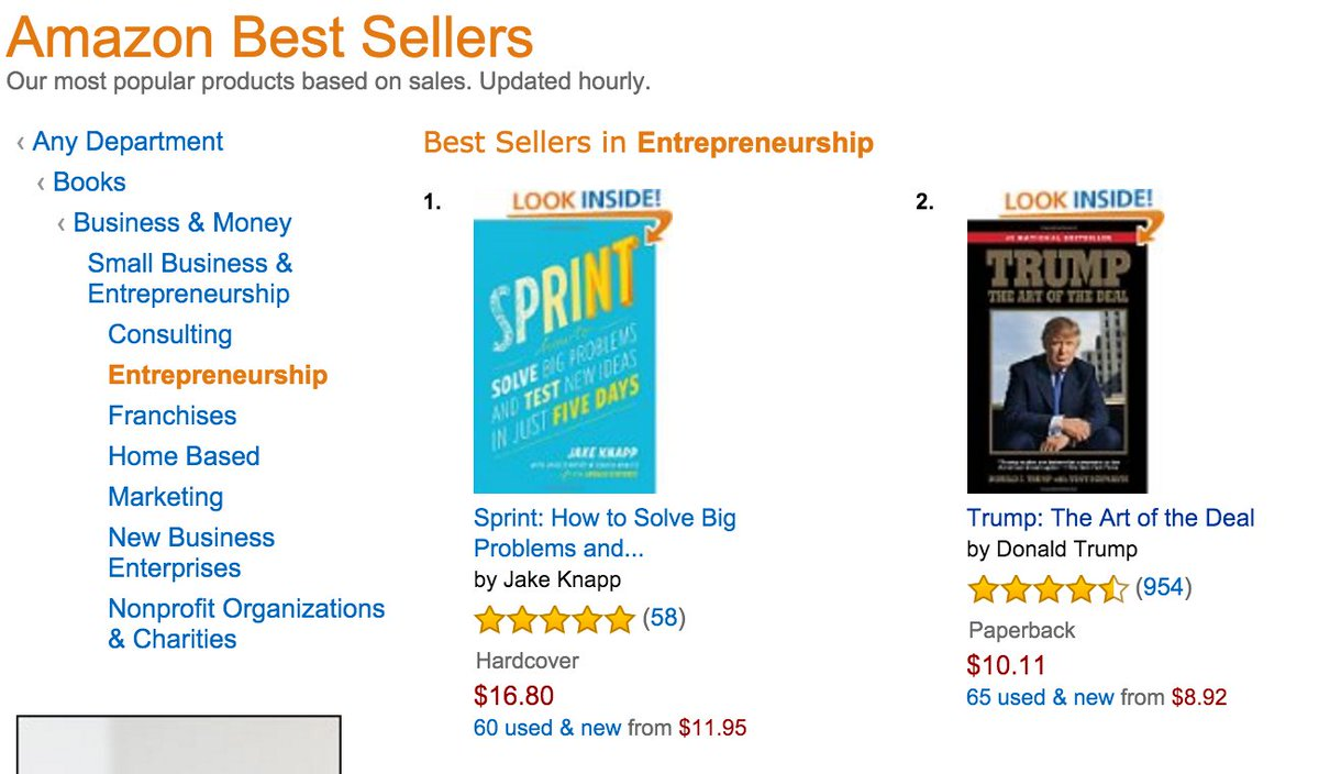 Due to some crazy sales spike, 'Sprint' is #1 in Entrepreneurship on Amazon. In your face, @realDonaldTrump! https://t.co/uJoxPKzJ2H