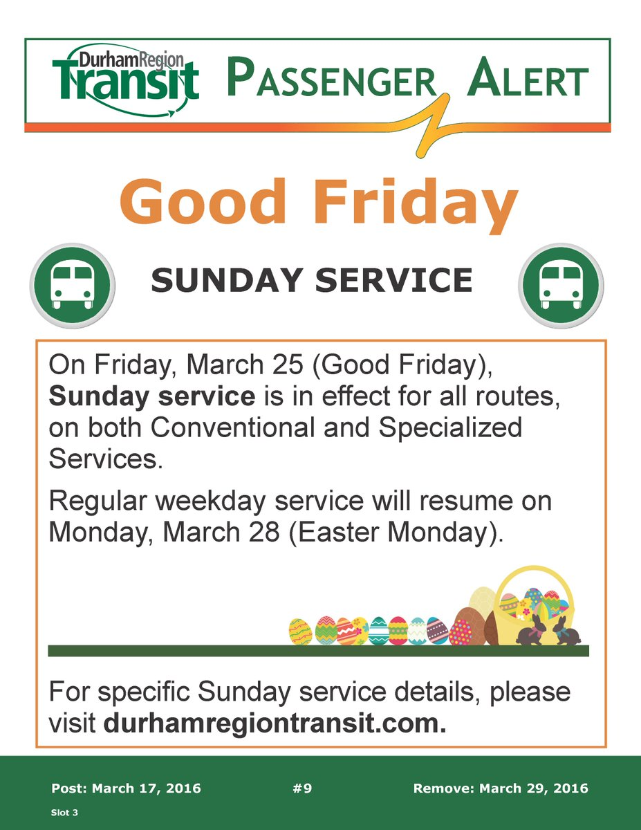 #DRTAlert On Fri, March 25, Sunday service in effect for all routes, on both Conventional & Specialized Services. https://t.co/uDQmdi2Cxz