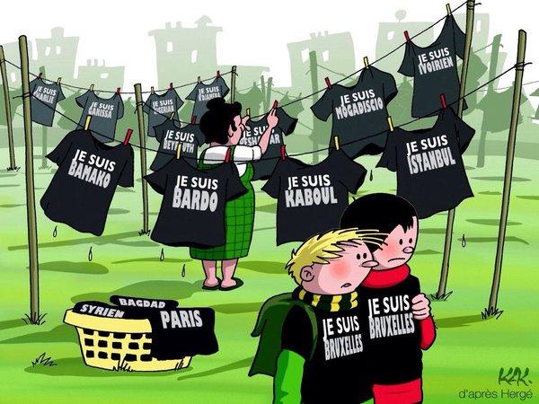 #TousUnis face au terrorisme (dessin de @MonsieurKak) #BrusselsAttacks
