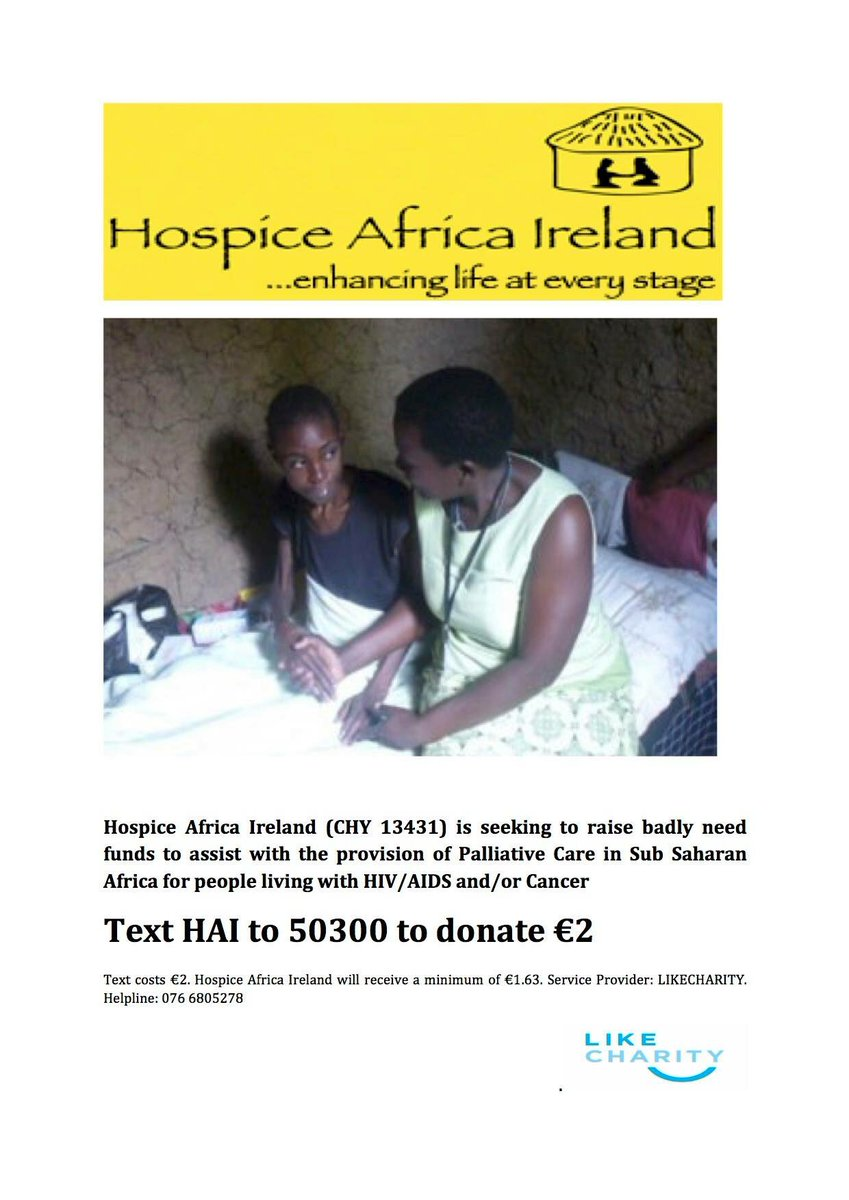 A text donate line has opened for #Hospice Africa #Uganda. @HospiceAfricaUg Simply text HAI to 50300 to donate €2. https://t.co/HlODwwiBpx