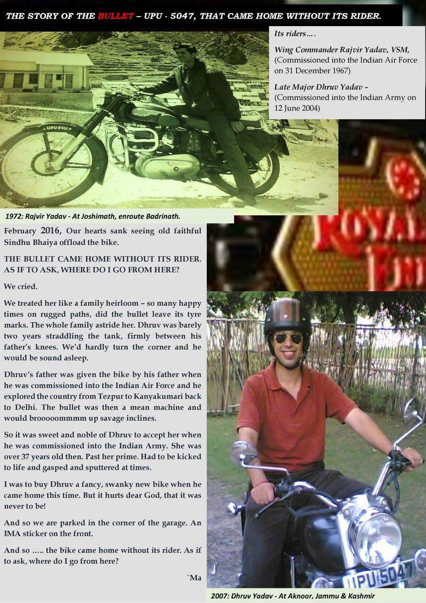 The bullet that came home without its rider by Maj. Dhruv Yadav's sister @specsofgold #JaiHind  cc @royalenfield https://t.co/zSL2wQUcu1