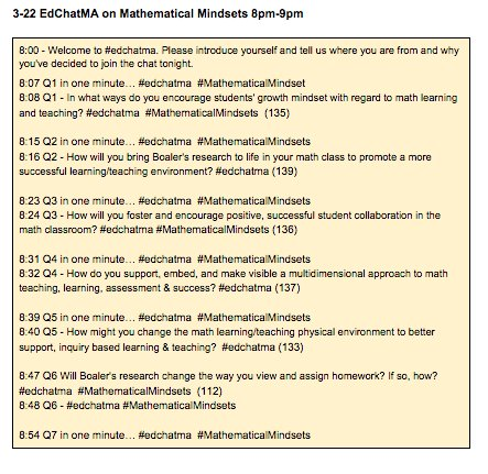 Sorry to miss #edchat. Getting ready for tonight's #edchatma Math Mindsets Conversation w/@joboaler 8-9pm, join us! https://t.co/U1dFZDAhFg
