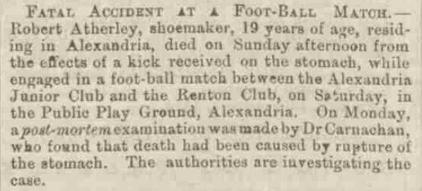 First death from Scottish Football? From @falkirk_herald Thu 27th Aug 1874. @AndyMitchMedia https://t.co/Z5BNmaO0z3