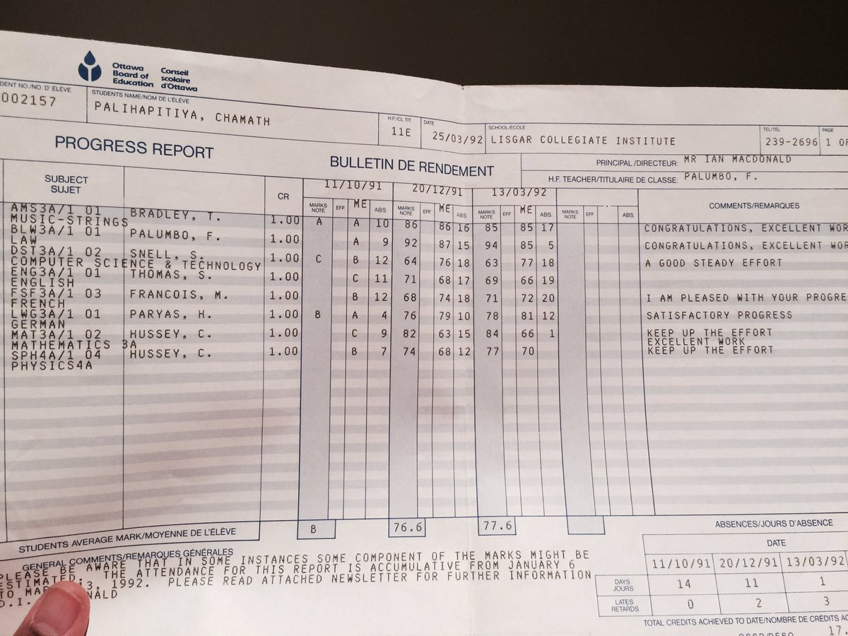 11th grade report card: 77% avg. Who knew my potential? Honestly, not me. Hard to tell via standardized ed for many. https://t.co/AqiHlCjXig