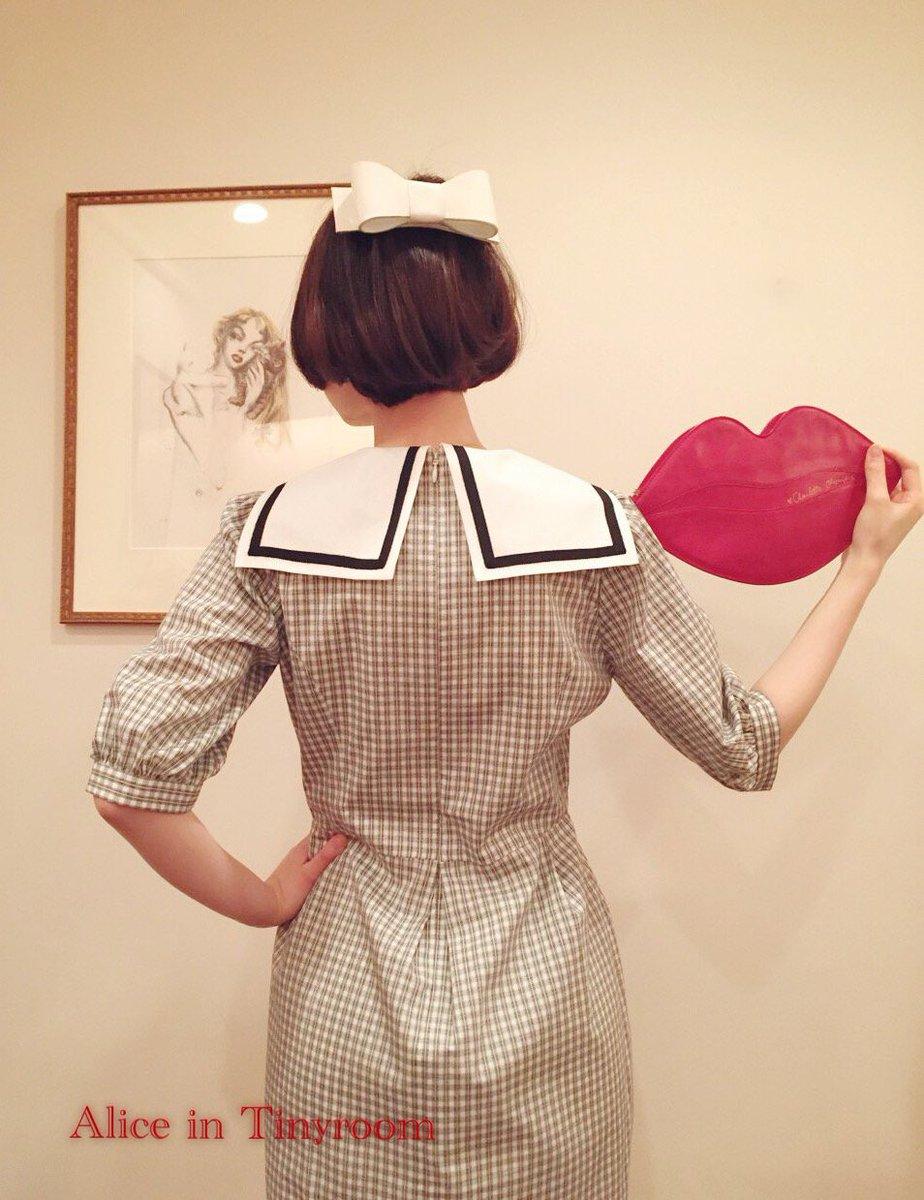 💜DAY×Alice in Tinyroom💜 別注ワンピース新入荷!  後ろ姿もこんなに素敵♪メンズのシャツのような甘くないチェックがとても気に入っています。 オリジナルバレッタも白を合わせたい!夏のお嬢様スタイル♡