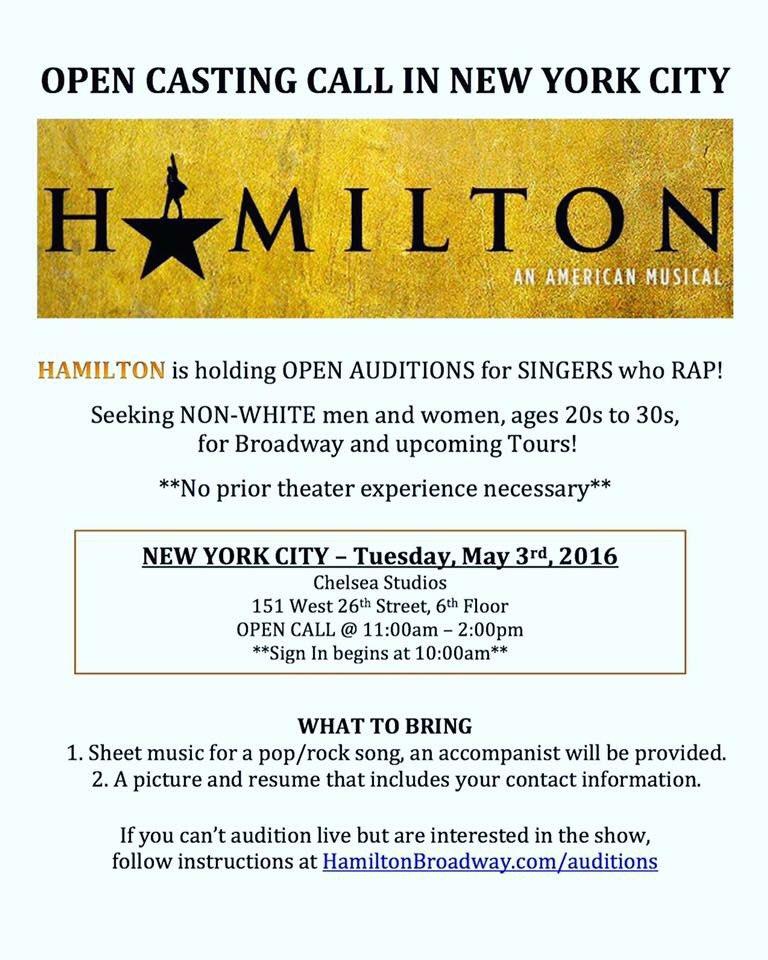Open CastingCall @HamiltonMusical https://t.co/I5nM5a0plz