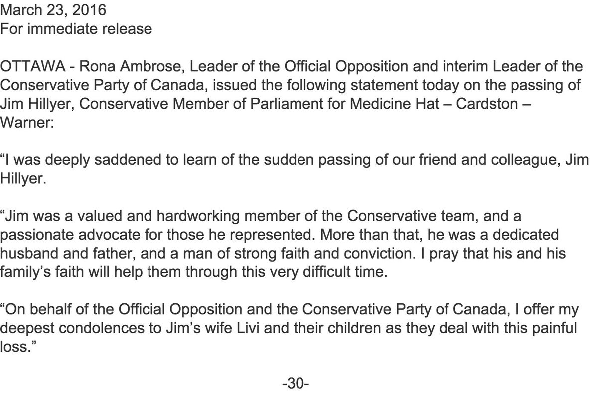 Brian Lilley On Twitter Conservative Mp Jim Hillyer Has Passed