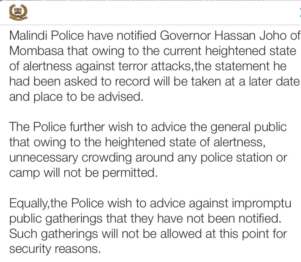 Police cancel meeting with Hassan Joho