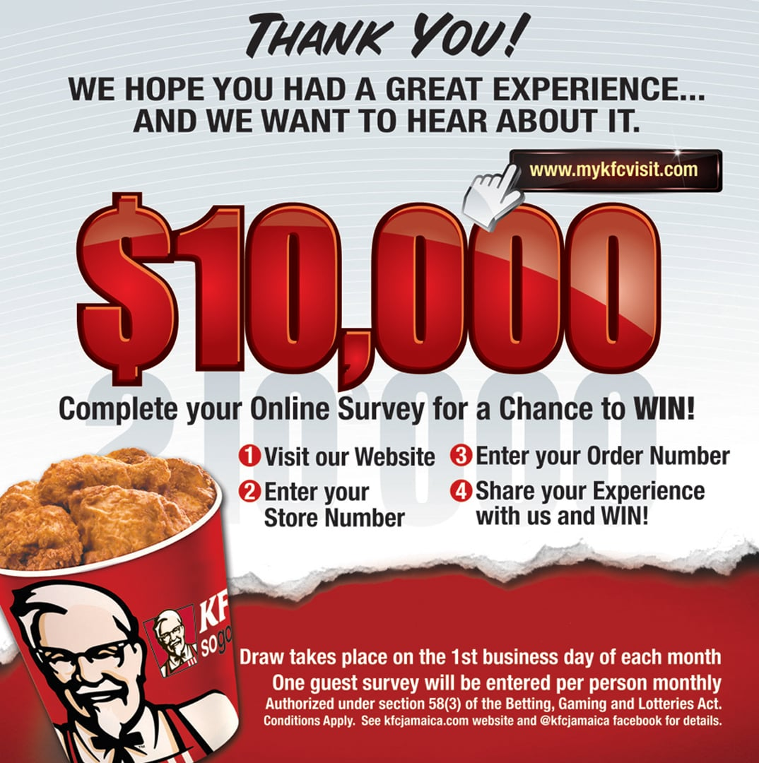 Kfc Jamaica On Twitter Talesenm Please Use The Receipt Number That Is At Top Of