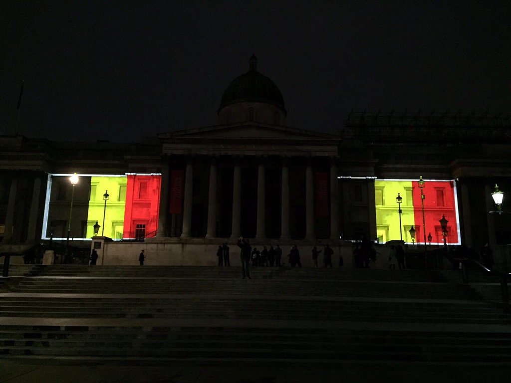 London in solidarity w/Brussels and the Belgian people tonight... the National Gallery & Tower Bridge illuminated https://t.co/iQjGVrT9vQ