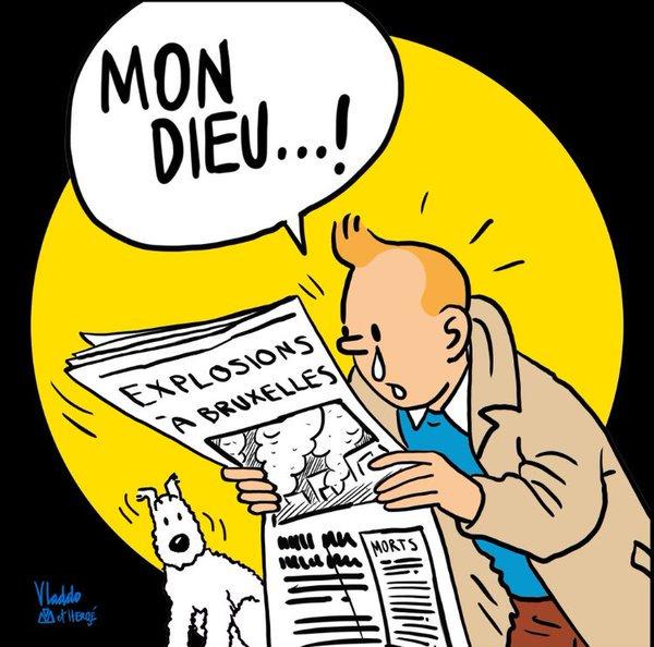 #JeSuisBruxelles──哥倫比亞漫畫家Vladdo創作的圖畫,丁丁看著布魯塞爾連環爆炸的新聞說:「我的天啊」。(圖取自官方Twitter)