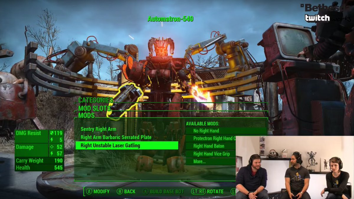 "Bethesda on Twitter: ""ICYMI Watch us build and battle epic robots in #Automatron on Twitch #Fallout4 #MoreFour. https://t.co/nIZTRN3Zeq ..."