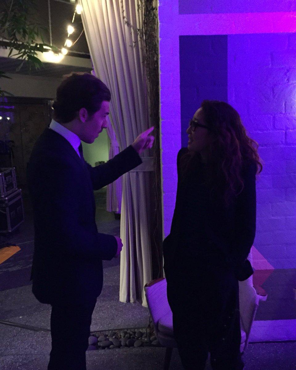 #GreysAnatomy's Dr. Andrew DeLuca (CFC alum @GiacomoKG) & Dr. Cristina Yang (@IamSandraOh) talking shop?! #CFCinLA https://t.co/H40sHtzNRc