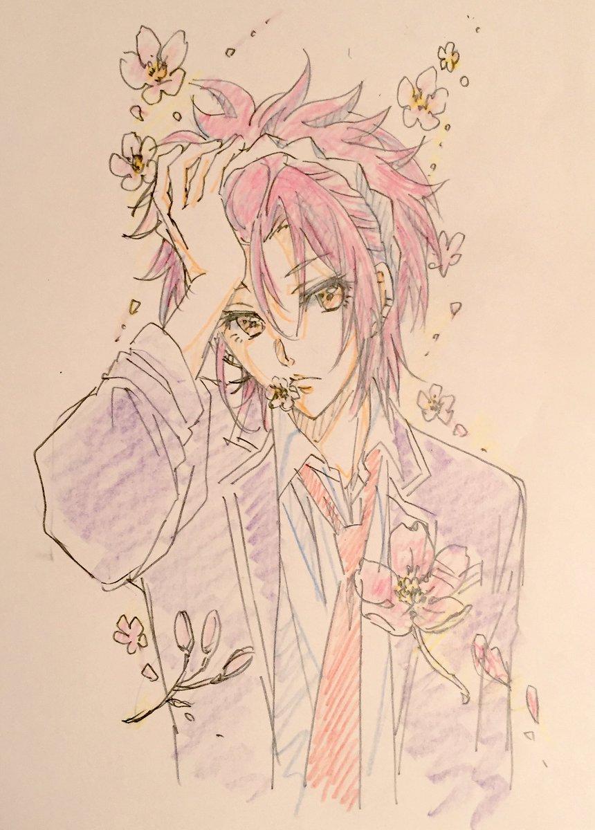 桜とアンニュイな美男子、今回は蔵王を描いてみました。