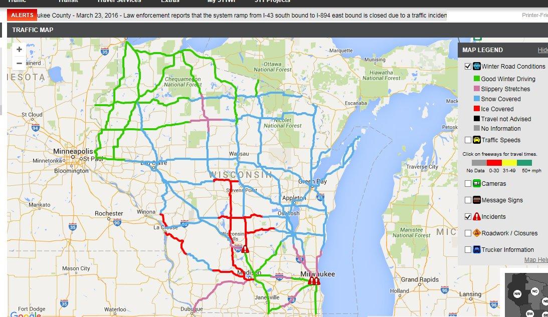 Wi 511 Map WisDOT Traffic Management Center on Twitter: