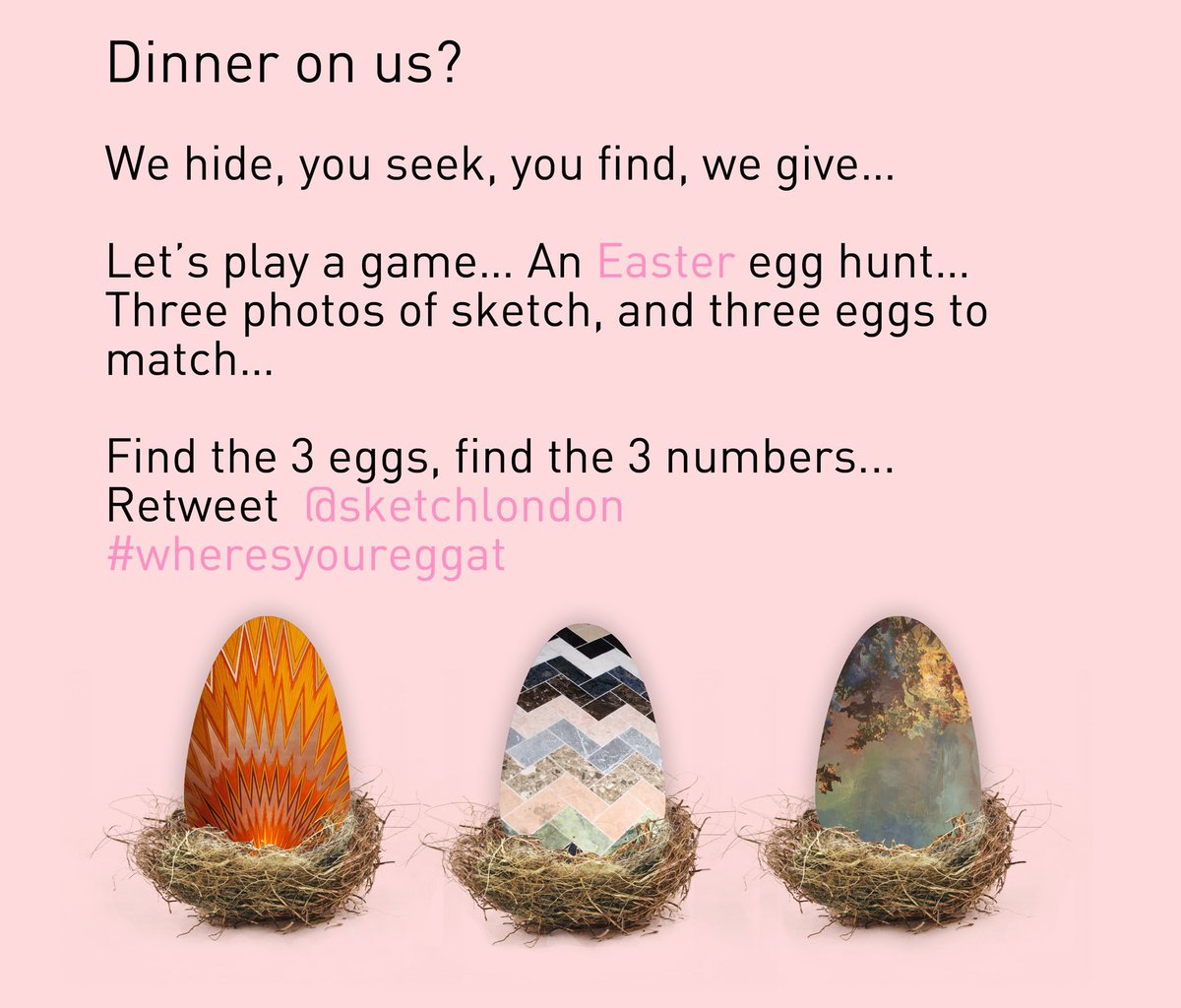 Let us #eastertainyou #wheresyoureggat #sketchlondon see details below for a chance to win! https://t.co/yqw1vYWNBN