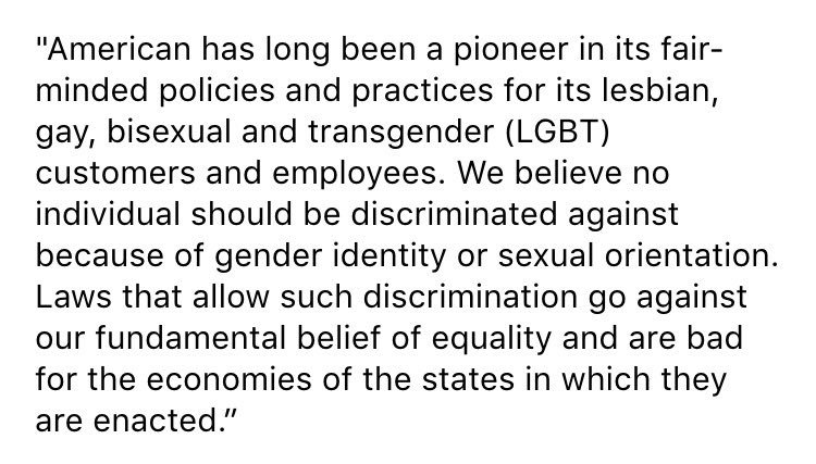 Statement from @AmericanAir on North Carolina's new anti-LGBT law: https://t.co/9o2lZHdyrs