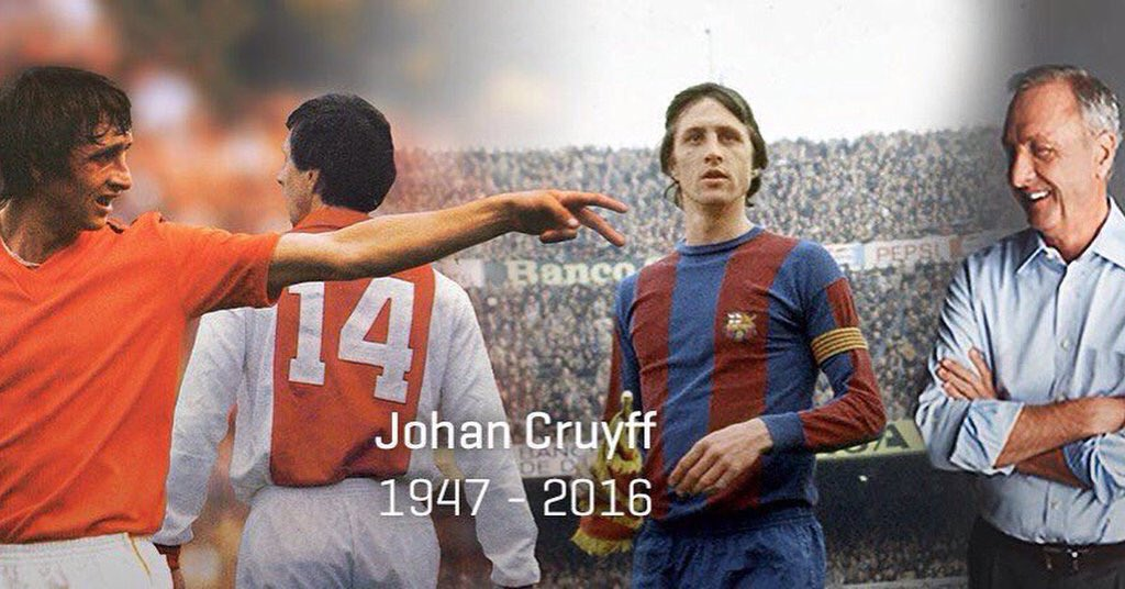 Marxa un geni. Agraïment infinit per qui va obrir el camí que ens ha portat on som. #DEPJohanCruyff https://t.co/QIvtrNzc3X